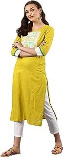 Janasya Women's Yellow Cotton Kurta With Pant