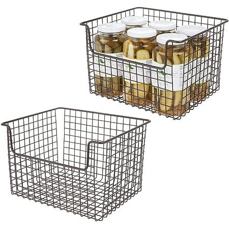 mDesign Panier de Rangement en Fil de Fer (Lot de 2) – boîte en métal Flexible pour la Cuisine, Le Garde-Manger, etc. – Panier en métal Universel avec poignées – Couleur Bronze