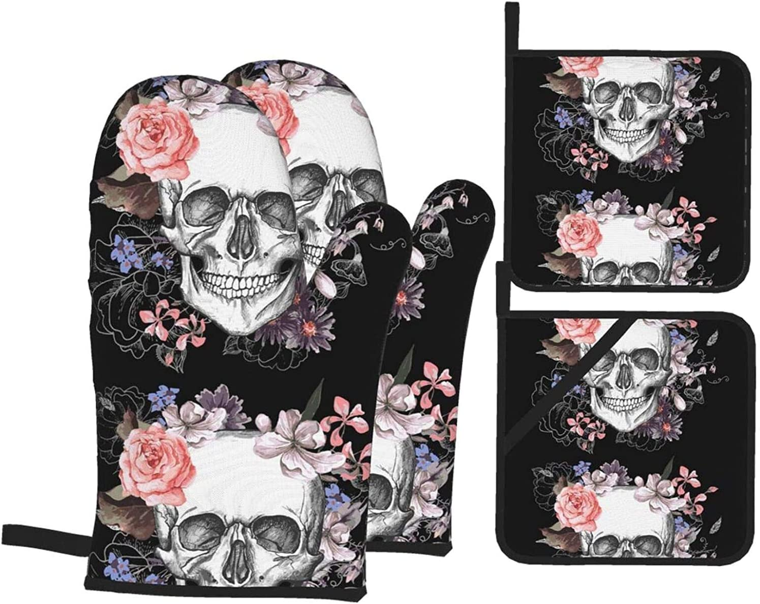 Sugar Floral Skull Oven Mitts and of Holders security Resistan Sets 4 Bargain sale Pot