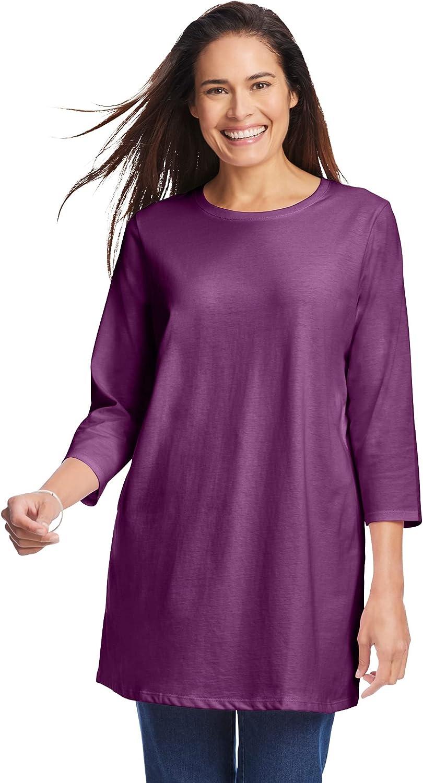 Woman Within Women's Plus Size Three-Quarter Sleeve Perfect Crewneck Tunic