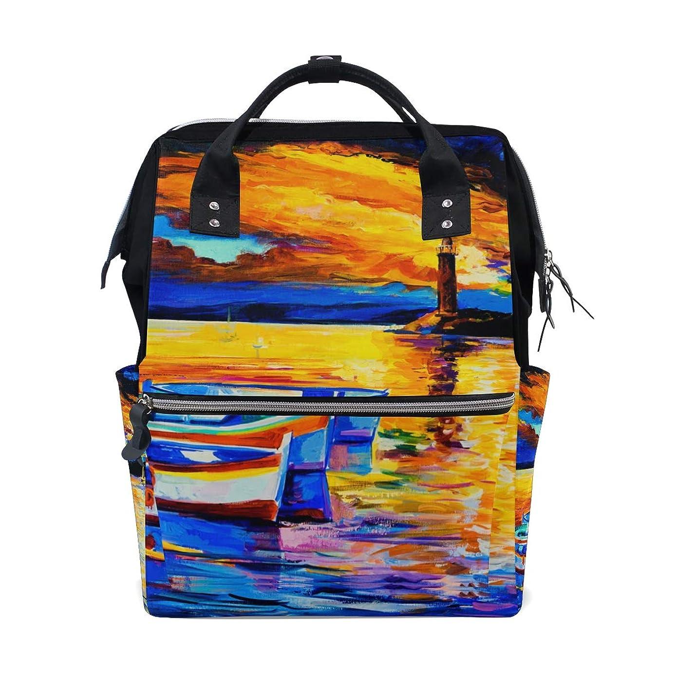 Oil Painting Boat Lighthouse River School Backpack Large Capacity Mummy Bags Laptop Handbag Casual Travel Rucksack Satchel For Women Men Adult Teen Children