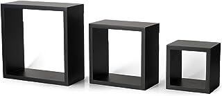 MelanncoFloating Wall Square Cube Shelves for Bedroom, Living Room, Bathroom, Kitchen - Wood, Set of 3, Black