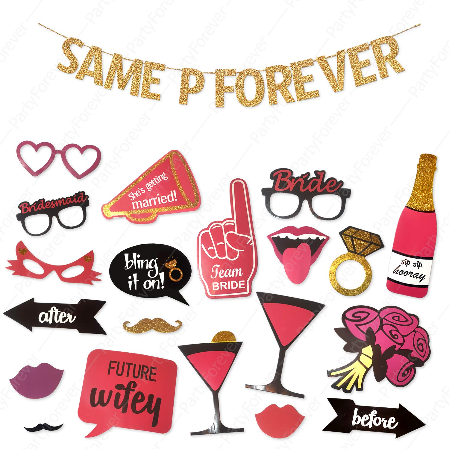 Same P Forever Banner Bachelorette Party Decorations Kit with Hen Party Photo Booth Props (20-Piece), Banner Sign with Bridal Shower Supplies, Hen Party Decorations Kit