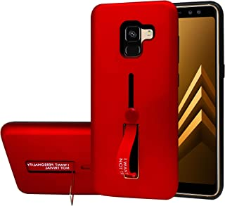 Samsung Galaxy A8 Plus 2018 Matte Shockproof Ring Stand PCplusTPU Back Case Cover - Red