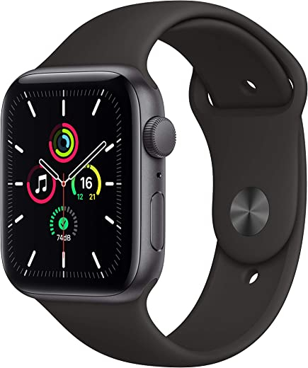 New Apple Watch SE (GPS, 44mm) – Space Grey Aluminium Case with Black Sport Band