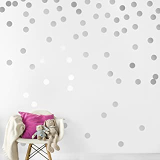 Silver Wall Decal Dots (200 Decals)   Easy Peel & Stick + Safe on Walls Paint   Removable Metallic Vinyl Polka Dot Decor   Round Circle Art Glitter Sayings Sticker Large Paper Sheet Set Nursery Room