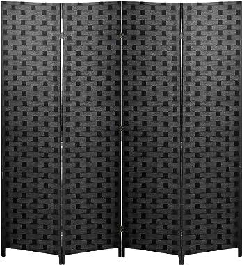 Room Divider 6FT Wall Divider Wood Screen 4 Panels Wood Mesh Hand-Woven Design Room Screen Divider Indoor Folding Portable Pa