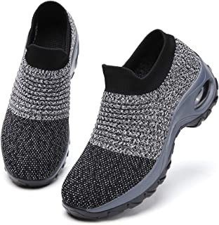 Ezkrwxn Walking Shoes for Women mesh Breathable Comfort Sock Fashion Sport Athletic Running Shoes Ladies Runner Jogging Sneakers Casual Tennis Trainers Grey Size 9