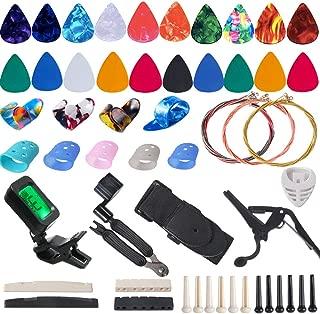 Guitar Accessories Kit Include Guitar Strings, Guitar Picks,Guitar Bridge Nut & Saddle,Bridge Pins, Tuner, Capo,Strap,Pick Holder, Restring Tool,Finger Protector,Finger Guitar Picks,Chord Chart