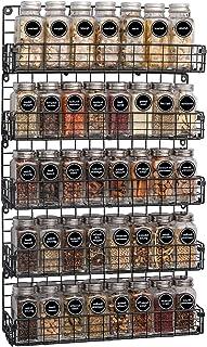 Étagère à épices à fixation murale à 5 étages empilables en fil de fer noir - Idéal pour la cuisine et le garde-manger pou...