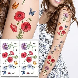 Supperb Temporary Tattoos - Hand drawn Colorful Flower Tattoo Sleeve Large Tattoo Arm Tattoo