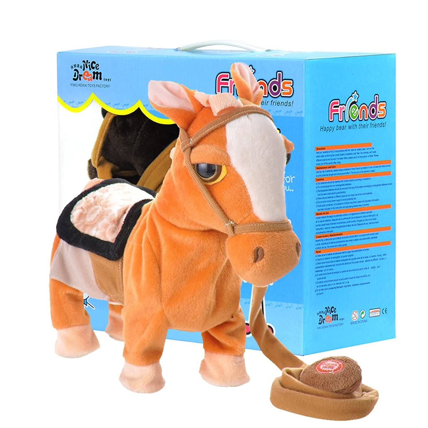 YMCtoys My First Pony, Pet Walking Horse Leash Remote Controlled Plush Toys with Music