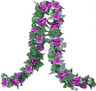 Lannu 2PCS 15 FT Artificial Rose Vine Garland Flowers Fake Flower Plants for Wedding Home Garden Party Hotel Decor, (Purple)