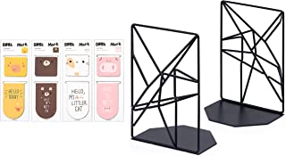 Kirbs' Kollection Bookends, 3-D Black Geometric Metal Bookend Supports (1 Pair) for Shelves and Desk with x4 Magnetic Bookmarks (Black, Style 2 - Animals)