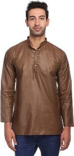 Men's Cotton Silk Blend Tailored Fit Casual/Festive Indian Kurta Dress Shirt : Multiple Color Options
