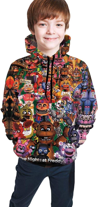 Five Nights at Freddy Youth Boys Girls 3D Print Pullover Hoodies Hooded Seatshirts Sweaters 18-20 Years Black