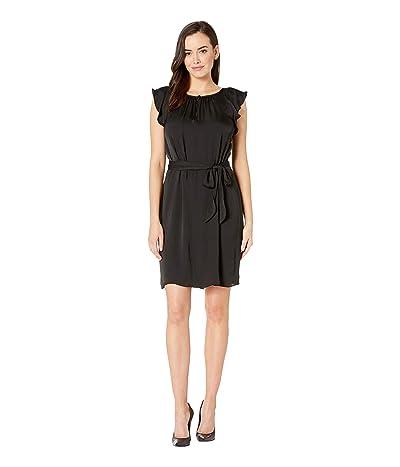 Vince Camuto Flutter Short Sleeve Belted Rumple Keyhole Dress (Rich Black) Women