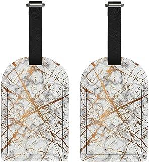 Etiquetas para bolsa de bagagem para mala de viagem Golden Splash Marbling Etiqueta de bagagem de couro PU com etiqueta de...