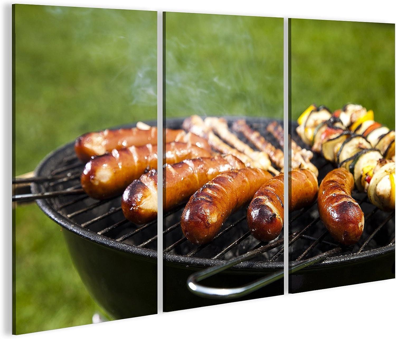 Bild Bilder auf Leinwand Leinwand Leinwand Grillen von Fleisch in Flammen, leckeres Abendessen Wandbild, Poster, Leinwandbild KEC B07DZFCTF7 | Elegantes und robustes Menü  5a565f