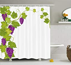 Custom Made Grapes Home Decor Shower Curtain, Latin Brochure Label Italian Town Province Vintage Menu Sign Artwork, Non Toxic, Eco-Friendly, No Chemical Odor for Bathroom Set, 60 x 72 Inches