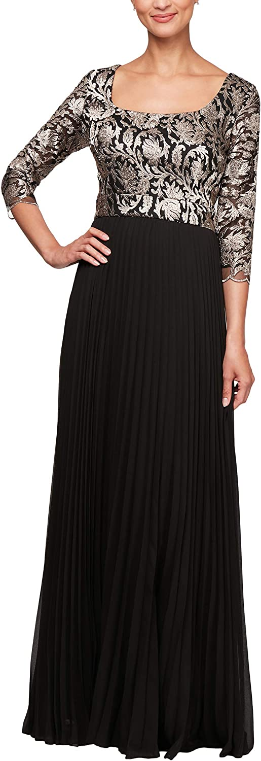 Alex Evenings Women's Long Aline Dress with Sleeves (Petite and Regular Sizes)