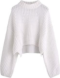 Women's Mock Neck Drop Shoulder Oversized Batwing Sleeve Crop Top Sweater