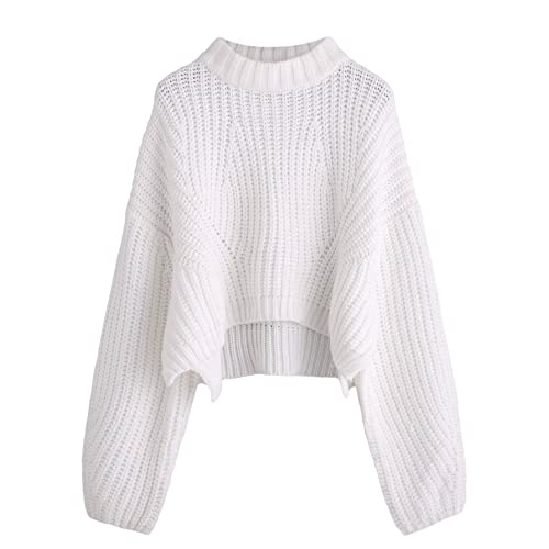 620d135226 SheIn Women s Mock Neck Drop Shoulder Oversized Batwing Sleeve Crop Top  Sweater