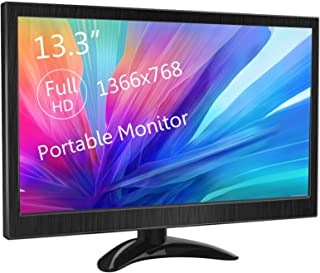 13.3 Inch Portable Monitor KENOWA HD Computer Display 1366X768 with HDMI VGA Video Input Interface for PS4 Mini PC Laptop ...