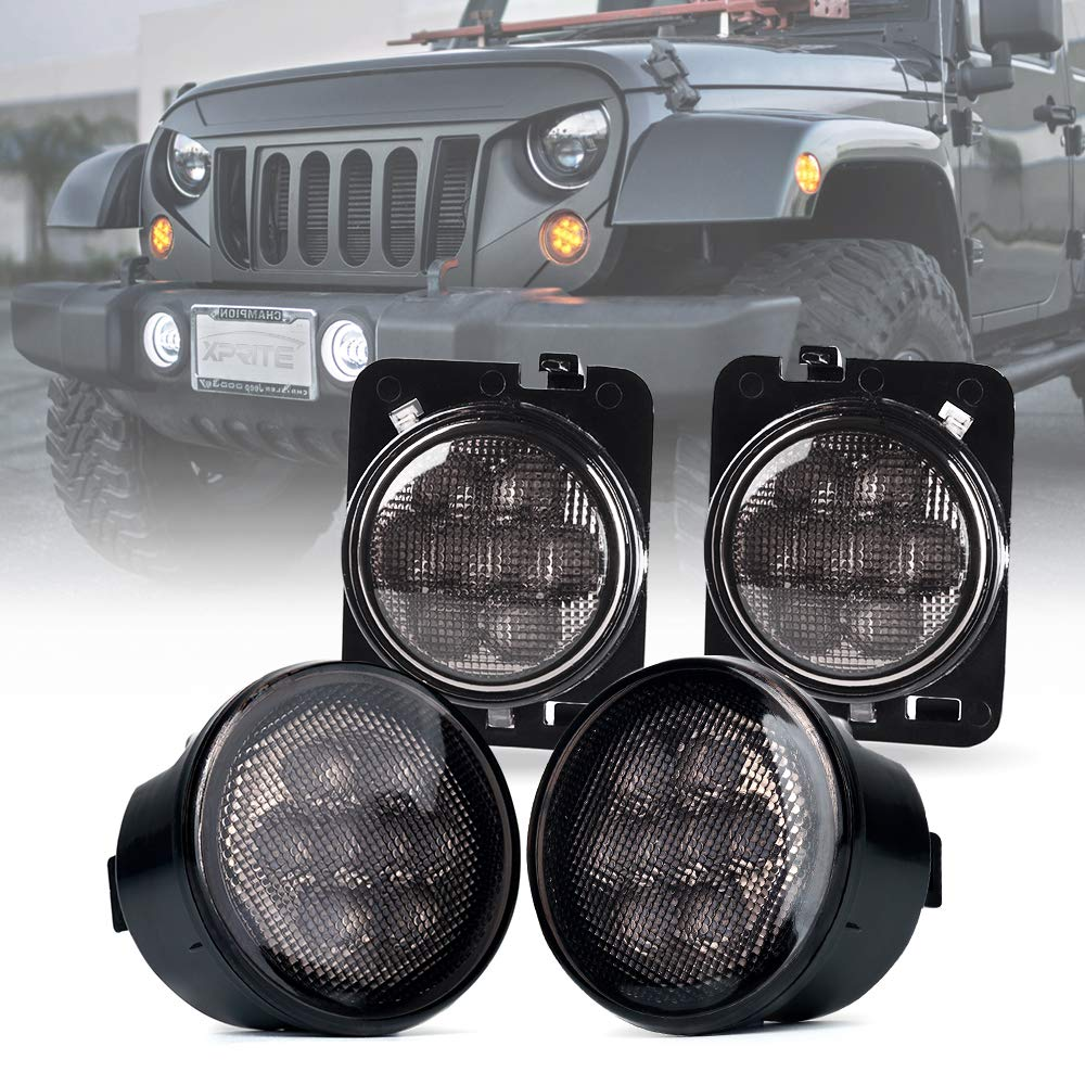 2014 jeep turn signal wiring amazon comxprite smoke lens yellow led front replacement turn signal light \u0026 fender side marker light assembly