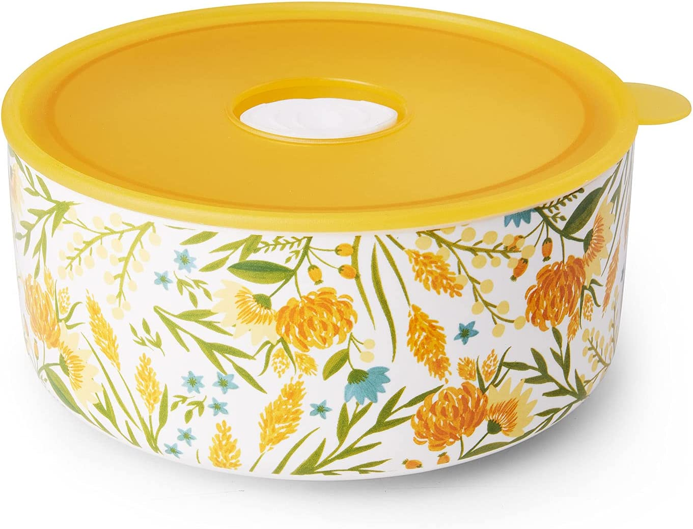 Ceramic Bowl with Lid | 25oz Serving Bowl with Lid for Cereal or Salad | Porcelain Food Storage Container with Lid, Microwave & Dishwasher Safe (Yellow)