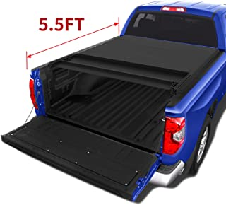 oEdRo Quad Fold Tonneau Cover Soft Four Fold Truck Bed Covers Compatible for 2014-2019 Toyota Tundra 5.5' Bed, Styleside (Incl. Utility Track Bracket Kit)