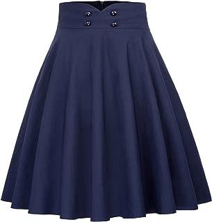 Women's High Waist A-Line Pockets Skirt Flared Button Midi Skirt