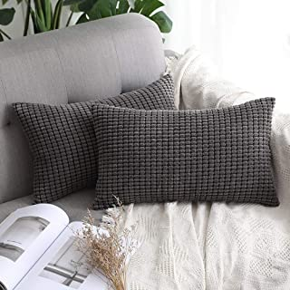 MIULEE Pack of 2 Decorative Lumbar Throw Pillow Covers Soft Corduroy Solid Cushion Case Grey Pillow Cases for Couch Sofa Bedroom Car 12 x 20 Inch 30 x 50 cm