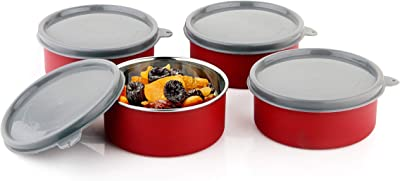 Axiom Stainless Steel Bowls Set Microwave Safe (Set of 4 Large Air-Tight Boxes with lid) for Storage and Serve Lunch/Snacks/