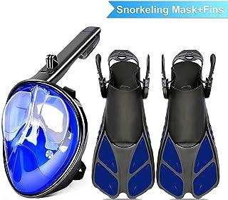 comprar comparacion Máscara de snorkel de cara completa 180 °Plegable panorámica Máscara de buceo antiniebla Máscara de buceo Superficie curva...