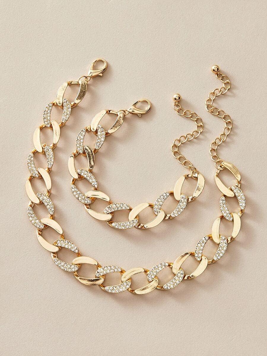 ZHAWE Women's Jewelry trust Louisville-Jefferson County Mall Set Series Rhinestone 2pcs Bracelet Decor