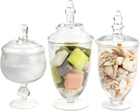 Mantello Decor Glass Apothecary Jars (Clear, Small, Set of 3)