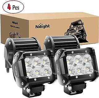 Nilight LED Light Bar 4PCS 4 Inch 18W LED Bar 1260lm Flood Led Off Road Driving Lights Led Fog Lights Jeep Lighting LED Wo...