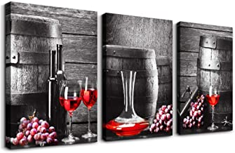 """Black and white barrel Red wine Canvas Wall Art for kitchen Canvas Prints Artwork dining room Wall Decor painting 16"""" x 24..."""