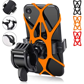 Black Universal Motorcycle Handlebar Mount Fits iPhone Xs Max//XS XR X//6S//7//8 Plus 360/°Rotation Removable Silicone Bicycle Phone Holder Galaxy S10+//S10//S10e//S9+//S9//S8 4.0~6.5 Bike Phone Mount