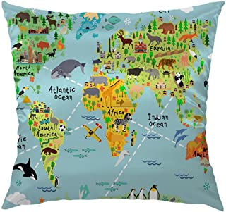 Moslion World Map Pillow Home Decorative Throw Pillow Cover Case Cartoon Map with Animal Satin Square Cushion Cover Silk Pillow Cases for Kids Girls Boys Children Sofa Bedroom Livingroom 18
