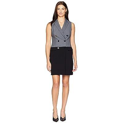 Calvin Klein Color Block Coat Dress CD8X15RK (Charcoal/Black) Women