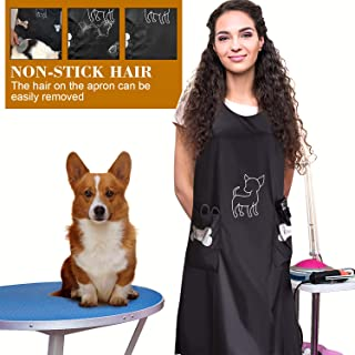 Noverlife Waterproof Apron, Anti-Static Hair Repellent Dog Cat Grooming Apron Apparel with Pocket Professional Nylon Pet Shop Workwear for Beauticians, Black