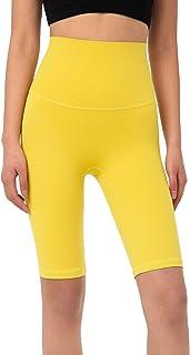 ANIMQUE - Mallas deportivas cortas para mujer, ultraelásticas, para gimnasio, fitness, deporte, amarillo L