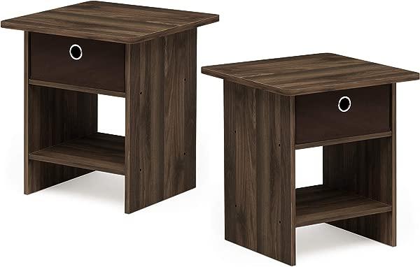 Furinno 2 10004CWN Bin Drawer Storage 2 Pack End Table Nightstand Columbia Walnut Dark Brown