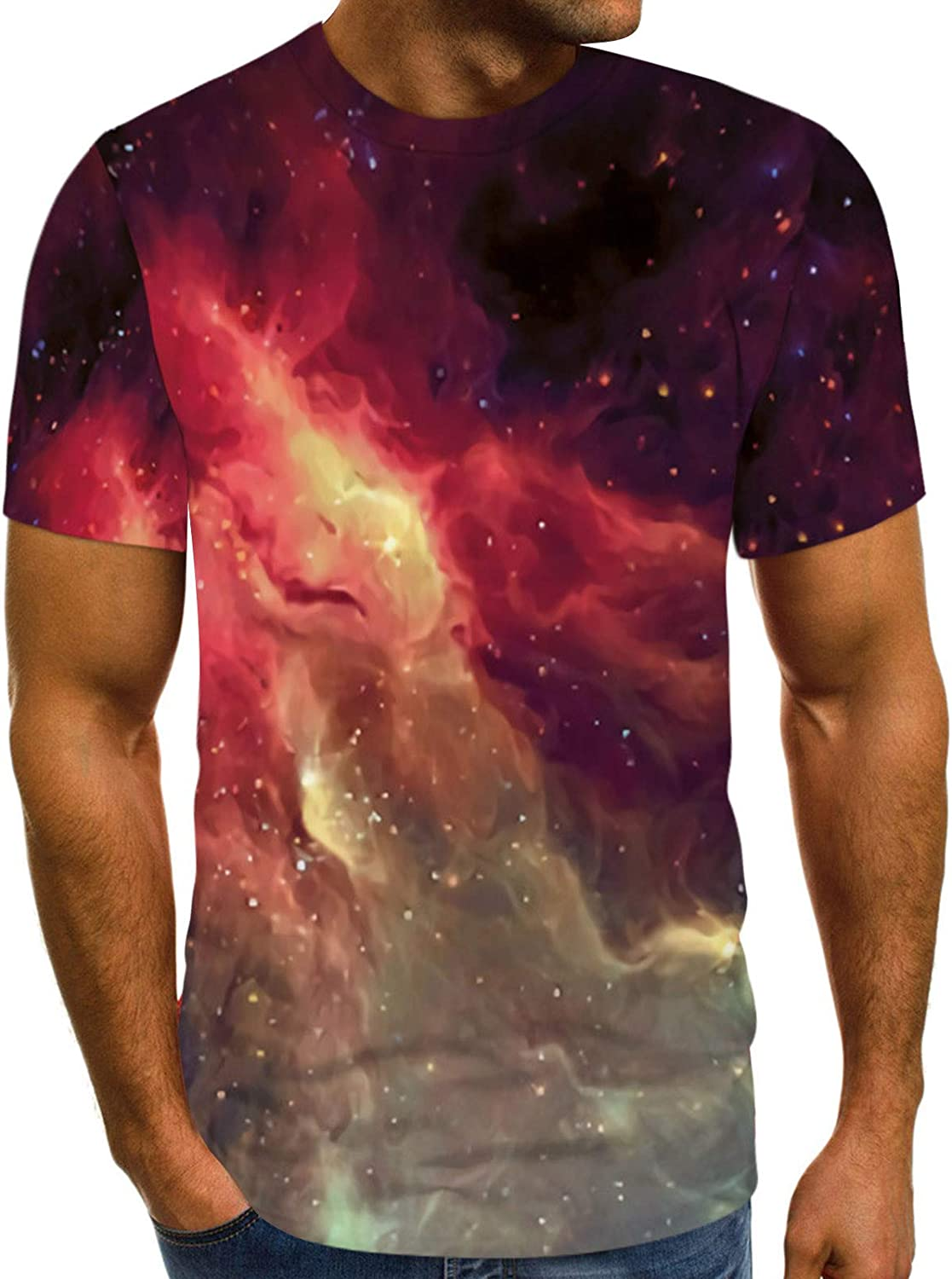 Tie Dye Space Print T-Shirts for Unisex Women Men Short Sleeve Casual Tops for Gifts Adult O Neck Tees