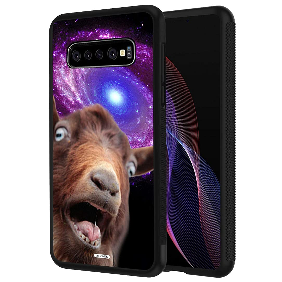 Galaxy S10 Case,AIRWEE Slim Shockproof Silicone TPU Back Protective Cover Case for Samsung Galaxy S10 (2019) 6.1 inch, Funny Space Goat Meme