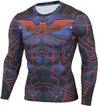 Mens Long Sleeve Compression Gym Shirt,Captain America Running Shirt