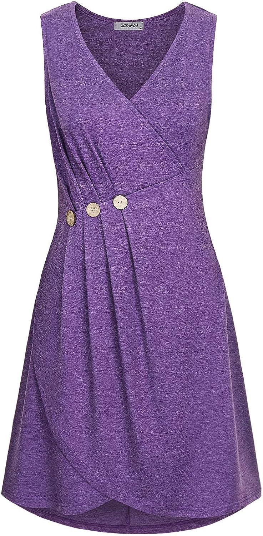 JCZHWQU Women's Summer Casual Wrap V Neck Sleeveless Midi Dresses