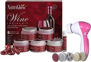 NutriGlow Wine Facial Kit (260gm) 6-Pieces Skin Care Set with Deep Cleanser, Scrub, Nourishing Gel, Whitening Cream, Mask ...